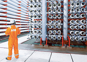 ABB engineer in a water purification plant
